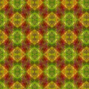 Green Red Gold Abstract
