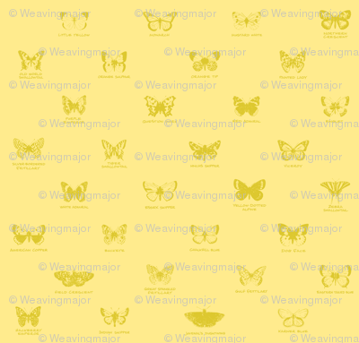 butterfly alphabet - pale gold
