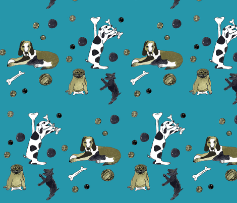 Dogs n' Bones n' Balls fabric by deboraheve on Spoonflower - custom fabric