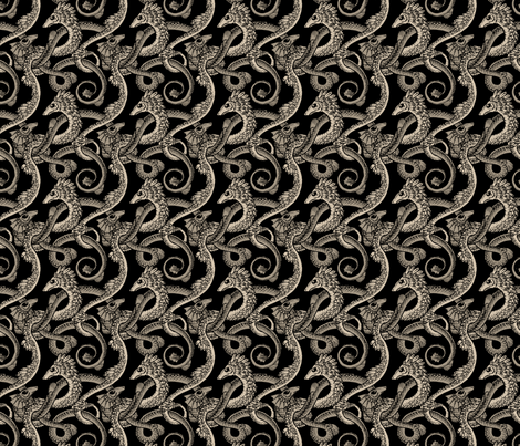 dragons black fabric by raul on Spoonflower - custom fabric