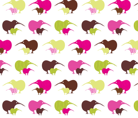 Kiwi mama and baby-ed fabric by malien00 on Spoonflower - custom fabric