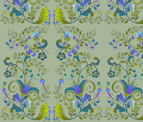 Russian Floral-Khaki fabric by leslipepper on Spoonflower - custom fabric