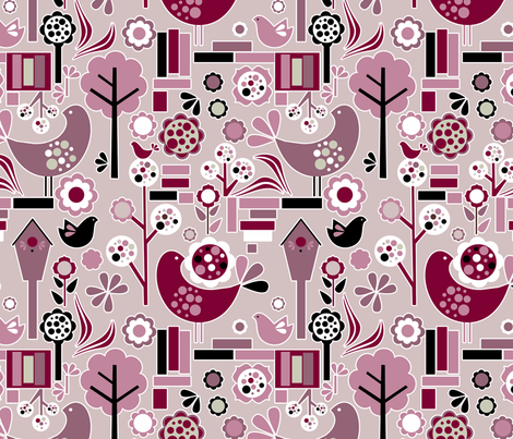 retrospring_fuchsia fabric by renule on Spoonflower - custom fabric