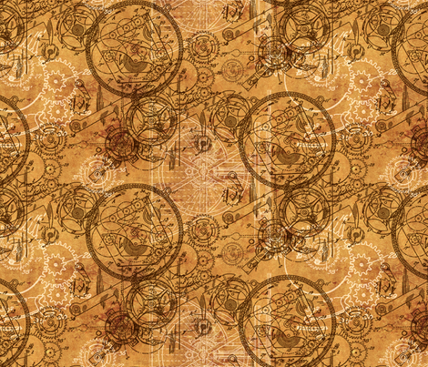 Clockwork Collage fabric by ophelia on Spoonflower - custom fabric
