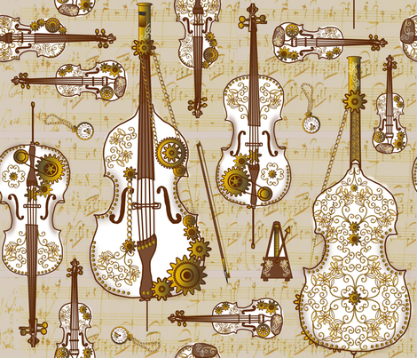 Steam Strings Parchment fabric by jasmo on Spoonflower - custom fabric