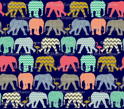 baby elephants and flamingos navy