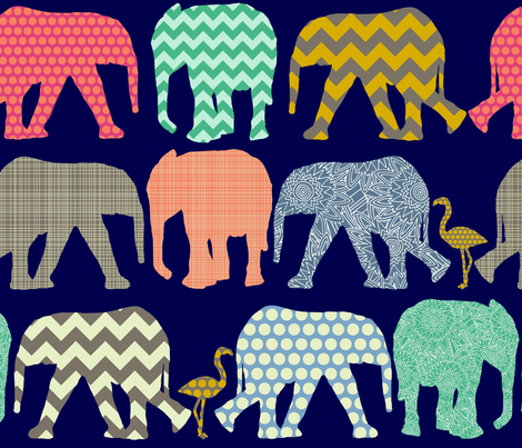 baby elephants and flamingos navy fabric by scrummy on Spoonflower - custom fabric