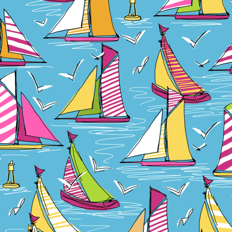 seagulls and sails springtime fabric by scrummy on Spoonflower - custom fabric