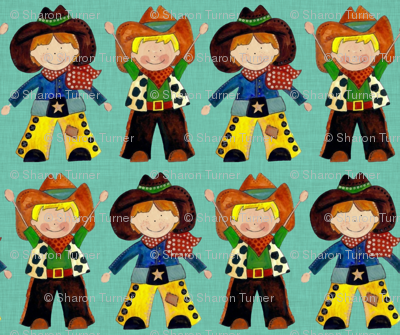 little cowboys turquoise linen