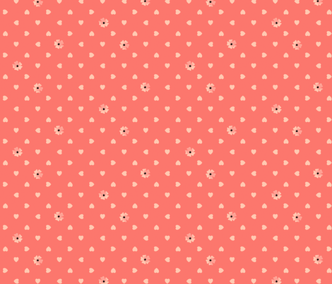 Hearts n Flowers - Rose fabric by inscribed_here on Spoonflower - custom fabric