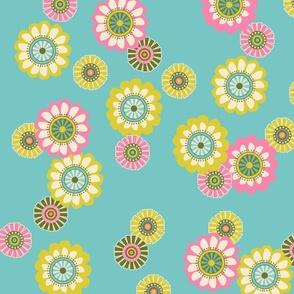 Mod Flowers Aqua