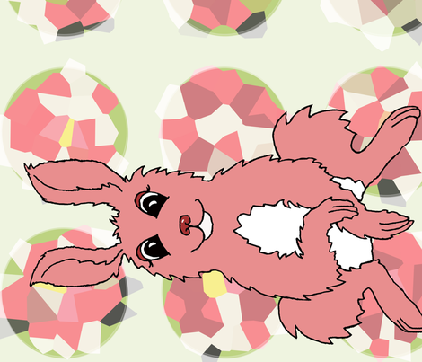 Hare in Haeckels' Garden Pink fabric by thread_and_thumb on Spoonflower - custom fabric
