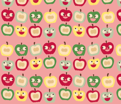 apples pink fabric by heidikenney on Spoonflower - custom fabric