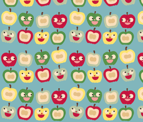 apples blue fabric by heidikenney on Spoonflower - custom fabric