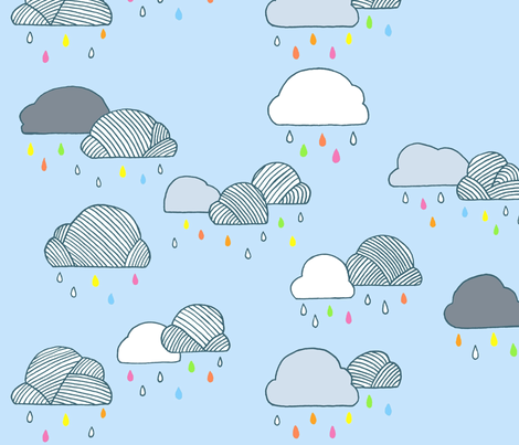 Rainy Day Clouds fabric by pocketcarnival on Spoonflower - custom fabric