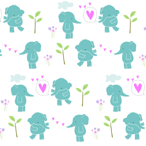 Sweetheart Elephants -ed fabric by zoel on Spoonflower - custom fabric