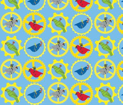 Mechanical Birds fabric by cbock on Spoonflower - custom fabric