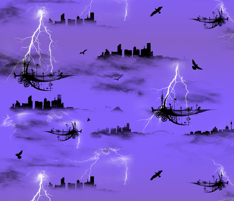 Lightning Flying Machine fabric by ldj_design on Spoonflower - custom fabric