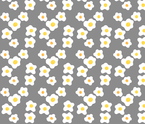 Sunny Side Up Egg Fabric- Gray Colorway fabric by the_vintage_moth on Spoonflower - custom fabric