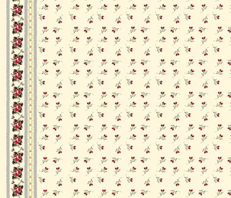 Golden Rose Border Print fabric by heidikaether on Spoonflower - custom fabric