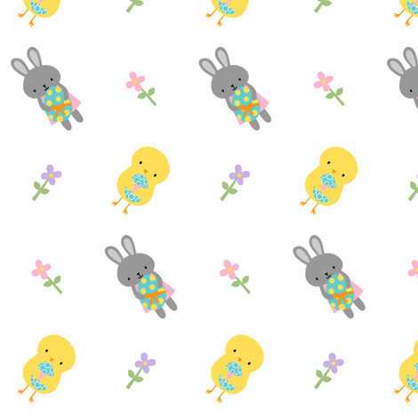 Easter Chicks and Bunny Rabbits fabric by zoel on Spoonflower - custom fabric