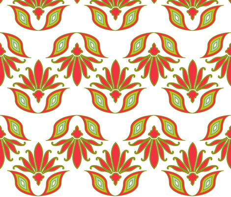 century_leaves_red_and_olive fabric by holli_zollinger on Spoonflower - custom fabric