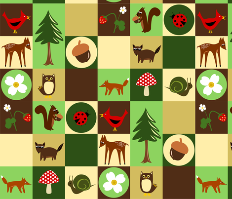 forest friends fabric by rose'n'thorn on Spoonflower - custom fabric