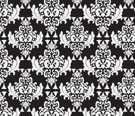Delicious Damask in Black and White fabric by mayabella on Spoonflower - custom fabric