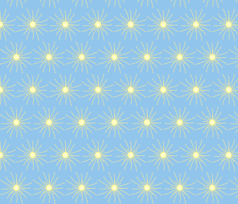 Sunshine Burst on Light Blue fabric by coveredbydesign on Spoonflower - custom fabric