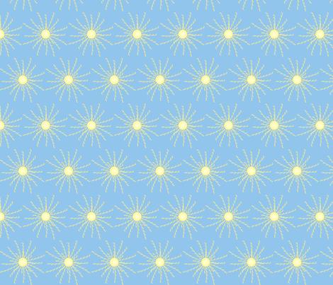 Sunshine Burst on Light Blue fabric by coveredbydesign on Spoonflower - custom fabric