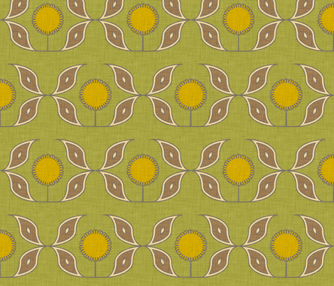 sun and flower linen fabric by holli_zollinger on Spoonflower - custom fabric
