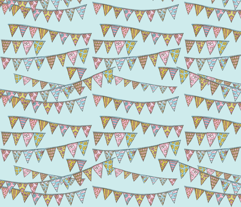 Bunting on Blue fabric by redhange on Spoonflower - custom fabric