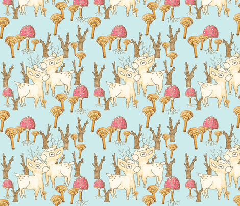 Woodland Fawn on Blue fabric by redhange on Spoonflower - custom fabric