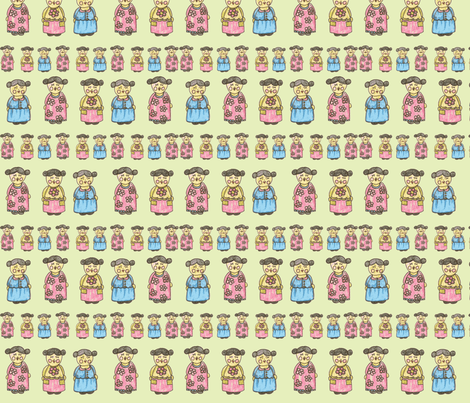 Kokeshi Inspiration - on Pale Yellow fabric by redhange on Spoonflower - custom fabric