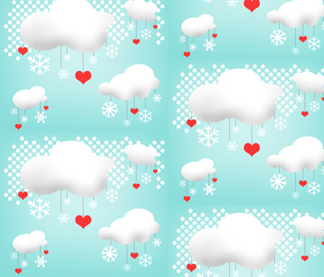 I Heart Snow fabric by gurgleturtle on Spoonflower - custom fabric
