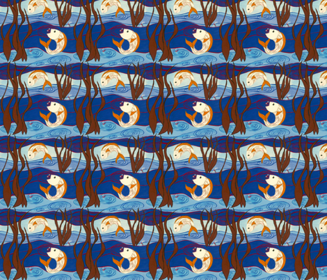Fishes in Aquatic fabric by taradonnelly on Spoonflower - custom fabric