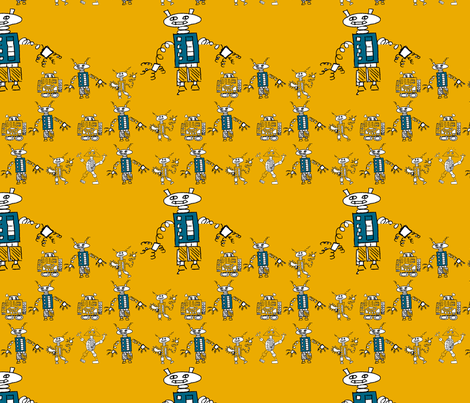 Robot Series- Medium- Orange fabric by zilamonster on Spoonflower - custom fabric