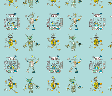 Robot Series- Large- Light Blue fabric by zilamonster on Spoonflower - custom fabric