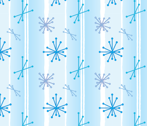 Retro Snow Flakes - Baby Blue fabric by lmlloyd-designs on Spoonflower - custom fabric
