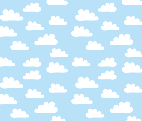White Clouds on Soft Blue fabric by carinaenvoldsenharris on Spoonflower - custom fabric