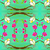 Teal and Magenta-Chickadees and Cherry Blossoms