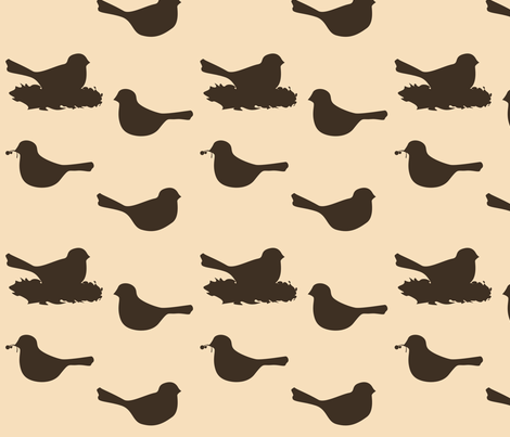 birds- brown/tan fabric by avelis on Spoonflower - custom fabric