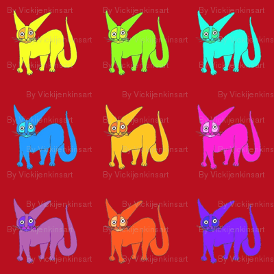 Rainbow Wildcats red background