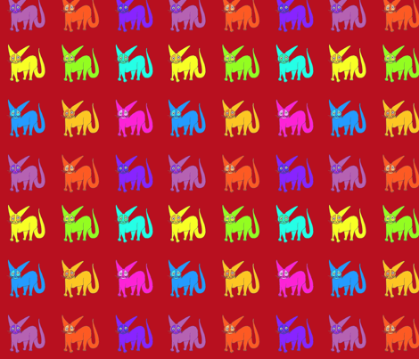 Rainbow Wildcats red background fabric by vickijenkinsart on Spoonflower - custom fabric