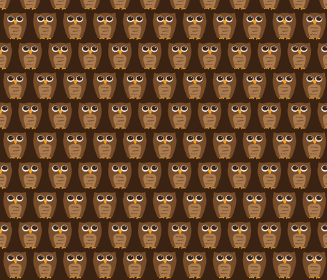 Small Wise Brown Owl fabric by wastenotsaks on Spoonflower - custom fabric