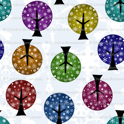 Retro Snowflake Trees