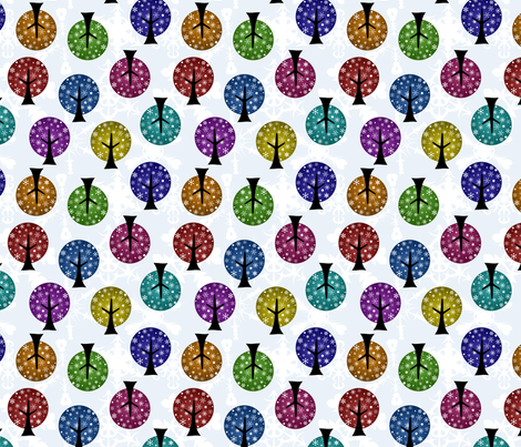 Retro Snowflake Trees fabric by joyfulrose on Spoonflower - custom fabric