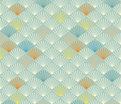Shells bleu fabric by feinstarbeiten on Spoonflower - custom fabric