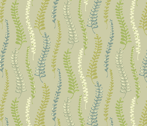 fernyforestlinen fabric by kimkim on Spoonflower - custom fabric