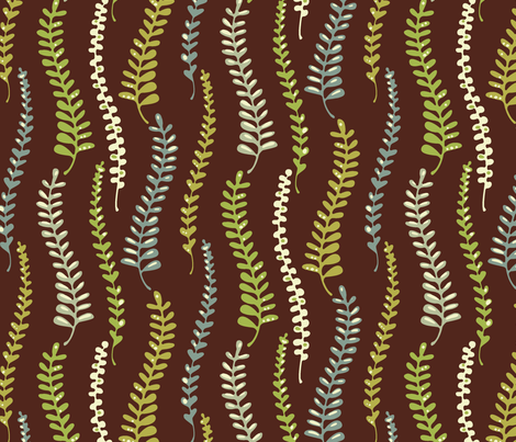 fernyforestchoco2 fabric by kimkim on Spoonflower - custom fabric